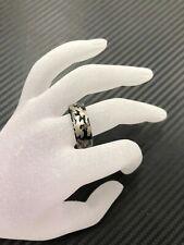 8mm Men's Titanium Camo Military Army Gray Design Wedding Band Ring