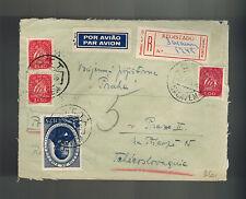 1946 Sacavem Portugal Registered cover to Prague Czechoslovakia Green Wax Seals