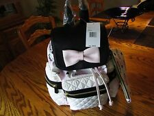 BETSY JOHNSON BR24460 Backpack Bow Part Quilted Black/Off White/Blush Pouch NWT