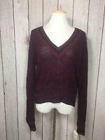 Womens JJ Basics Open Knit V-Neck Sweater Size Large OXBLOOD JS414RK