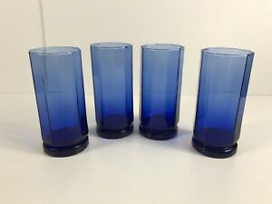Vintage Anchor Hocking Essex Cobalt Blue Tumbler Glasses High Tall 10-Sided X4