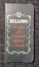 """1951 Bellows Recipes For Essential Mixed Drinks Fvf 16 pgs 2.25x4.5"""""""