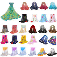 Women Flower Print Cotton Long Scarf Wrap Lady Large Shawl Chiffon Scarves Stole