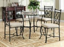 Classic Metal Dining Set 5 Pc Table 4 Chairs Black Glass Top  Kitchen Furniture