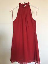 New Dorothy Perkins Red Halterneck Cut Out Back Chiffon Skater Dress Size 8