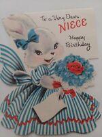 1952 Vtg Anthro Fuzzy BUNNY Blue DRESS Norcross NIECE BIRTHDAY GREETING CARD