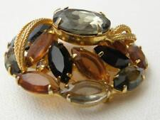 Awesome Vintage Goldtone Faux Topaz BIG Domed Brooch Pin