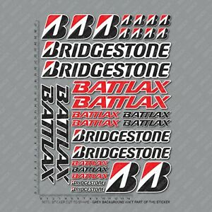 Bridgestone Stickers Motorcycle Decals Set A4 Sheet Of 30 Stickers - SKU2794