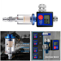 "1/4"" Spray Gun Digital Paint Air Pressure Regulator Gauge Water Trap Filter Tool"