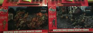 """AIRFIX """"D-DAY"""" SET WITH 12 1/32 MULTIPOSE FIGURES - 6 BRITISH & 6 GERMAN"""