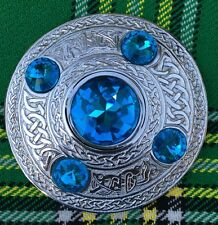 "Men's Fly Plaid Brooch Sky Blue Stone  4""/Ladies Shawl Brooch/Fly Plaid Brooches"