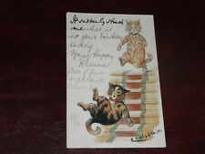 ORIGINAL LOUIS WAIN SIGNED  CAT POSTCARD - IT SUDDENLY STRUCK ME - H.M.& Co.