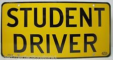 Old Orig AAA STUDENT DRIVER Metal License Plate yellow black car auto metal sign