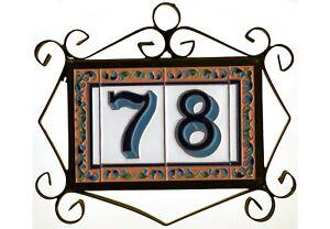 15cm x 7.5cm Ibiza Ceramic Spanish House Numbers, Metal & Hardwood Frames