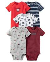 Carter's Baby Boys 5-Pack Short Sleeve Original Bodysuits Half Pint New