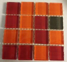 "1x1 Crystal Glass Tile Mosaic Kitchen Bath Wall: Red Orange- 4""x4"" sample size"