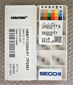 10x SECO CARBIDE INSERTS VBMT110204-F1  VBMT21.51-F1  Grade TP2501