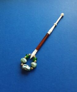 Bovine Bone Lace Bobbin. With Brown Insert. Spangles.