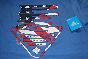 Columbia PFG USA Triangle Graphic 100% cotton SS T-Shirt in Blue Size Large