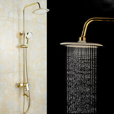Luxury Bathroom Brass Gold Shower Head & Hand Spay Mixer Taps Bathtub Faucet