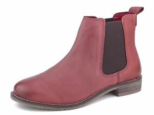Frank James Aintree Leather Ladies Chelsea Ankle Boots Red Nubuk