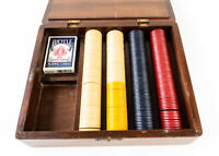 Vintage Wooden Box Poker Chip with Monte Carlo Resort Casino Las Vegas Bag