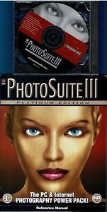 MGI Photosuite 3 III Platinum Pc New Sealed Case + New 41 Pg Manual Win10 XP
