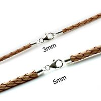 Mens Genuine Natural Leather Necklace-Sterling Silver Clasp-Choose Thickess