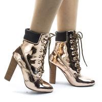 Blossom33 Metallic Block Heel Combat Work Boots w Lace Up Padded Collar