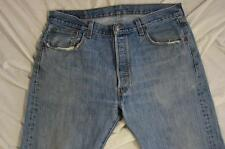 Levi 501 Button Fly Straight Leg Faded Denim Jeans Tag 36x32 Measure 36x31.5