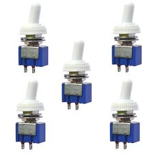5 x On Off Mini Toggle Switch SPST Miniature + White Waterproof Cover