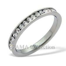 FAMA 3mm Stainless Steel Eternity Band Ring with Clear CZ Stones Size 6-9