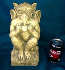"""Winged Squatting Signed Gargoyle Statue 13"""" Has Beak & Eating"""