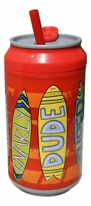 12oz Cool Gear Spill Proof Insulated Can w/SlideTop Twist Off Lid/Red Surf Board
