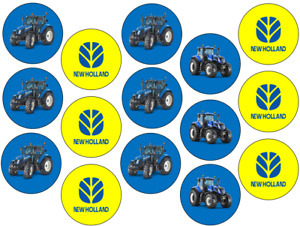 NEW HOLLAND INSPIRED 15 X 2'' ROUND CUPCAKE TOPPERS EDIBLE ICING / WAFER