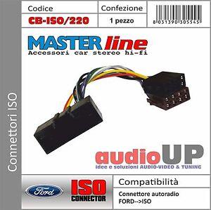 Connettore ISO radio originale per FORD Fiesta dal 2010 in poi. MASTERLINE