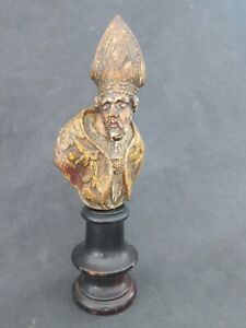 Antique 17th century Italian carved wooden polychrome Saint bust