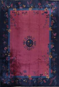 Antique Vegetable Dye Art Deco Nichols Chinese Area Rug Hand-knotted 9x12 Carpet