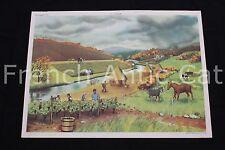 Affiche Scolaire vintage Eté blé moisson Automne vigne chasse Rossignol R126
