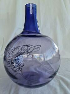 Kosta Boda - Gunnel Sahlin - purple long neck vase - deceased estate