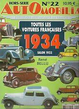 AUTOMOBILIA HS 22 TOUTES LES VOITURES FRANCAISES 1934 (SALON 1933)