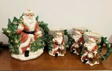VTG 1990 Fitz & Floyd OCI OMNIBUS Christmas wilderness Santa Teapot & 3 Mug