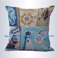 US SELLER- lighthouse ship wheel seaside nautical couch pillow slipcovers