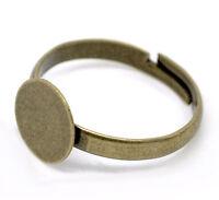 5x Ringrohling mit 8mm Fläche bronzefarben Cabochon//Kamee Basteln DIY Schmuck