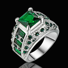 Size 7 Women's Green Emerald Big Stone Sunflower Ring white Platinum Plated