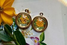 Vintage Charms, Flower Glass,Yellow Rose Rare Findings Gold Plated NOS #77H