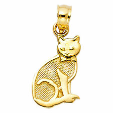 14K Solid Yellow Gold Cat Pendant -Reversible Double Sided Polish Necklace Charm