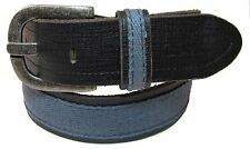 GUESS NEW Men's Leather Canvas Belt Brown Blue 32/80