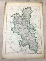 Antique Map of Buckinghamshire County England 19th Century Old Hand Coloured