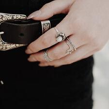 4 PCS/Set New Silver Punk Vintage Ring Womens Retro Finger Rings Boho Style